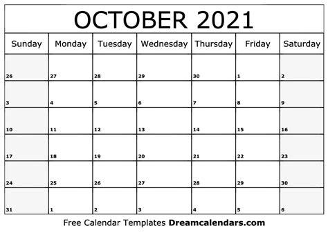 View Printable October Calendar 2021  PNG