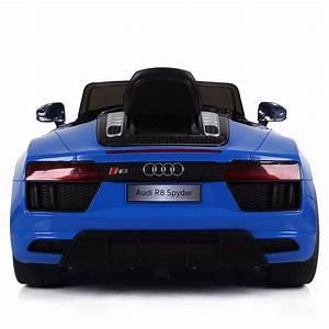 Audi R8 Enfant : voiture de sport lectrique 12v pour enfant audi r8 spyder cristom bleu ~ Melissatoandfro.com Idées de Décoration