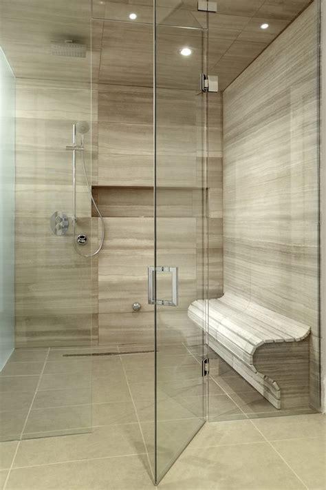 lovely long shower drain  walk  beige tile built