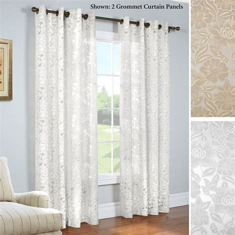sheer curtain panels carlotta faux burnout semi sheer grommet curtain panels