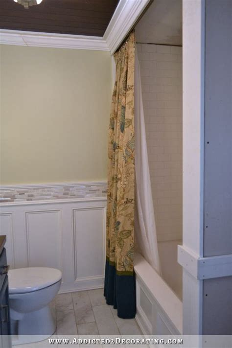 diy decorative shower curtain finished and installed