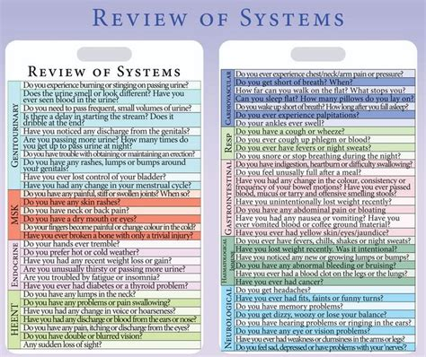 Review Of Systems Template Review Of Systems Exle With Complete Guide