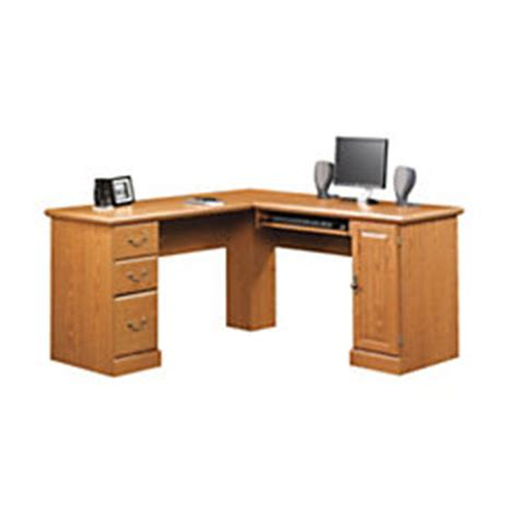 sauder orchard hills corner computer desk carolina oak by