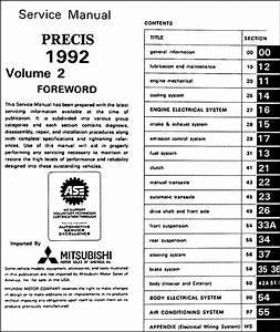 1992 Mitsubishi Precis Repair Shop Manual Set Original