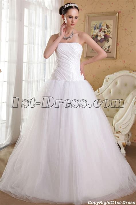 White Simple Pretty Quinceanera Gown with Train IMG 3578:1st dress.com