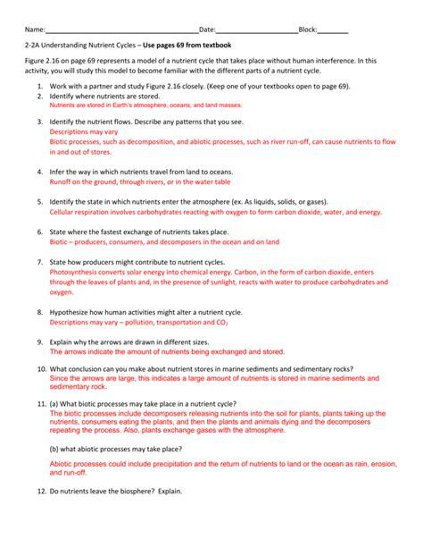 worksheet nutrient cycles worksheet grass fedjp