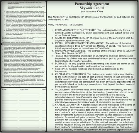 general partnership agreement sample word  templates
