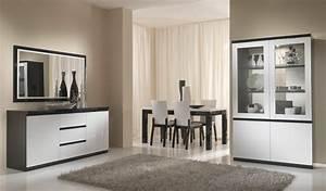 Salle a manger complete design laquee blanche et noir for Meuble salle À manger avec chaise grise et blanche