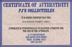 Kip39s american graffiti blog november 2011 for Certificate of authenticity autograph template