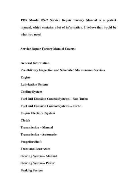 download car manuals 1989 mazda rx 7 instrument cluster 1989 mazda rx 7 service repair factory manual instant download