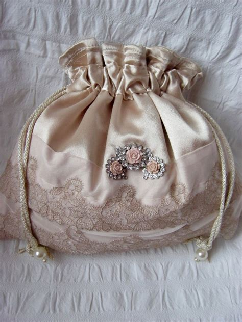 gold satin drawstring pouch hand  bag bridal bag