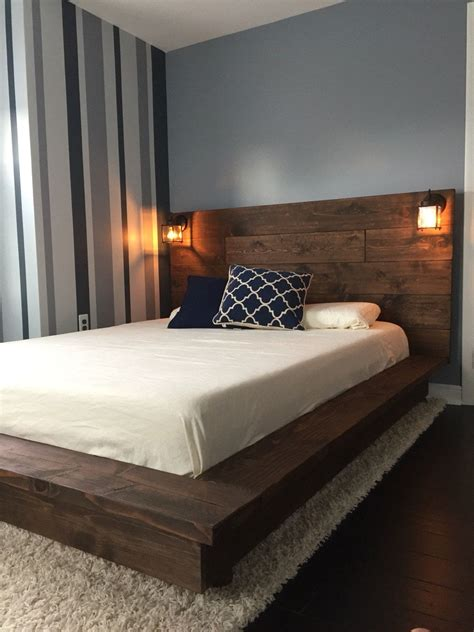 Wood Bed Frame With Headboard by Floating Wood Platform Bed Frame With Lighted Headboard