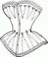 Victorian 1837 Corset Corsets Era 1840 Patterns Clip Coloring Pattern Pages Dress Breasts Shaped Cone Ladies Figure French Lacing Insane sketch template