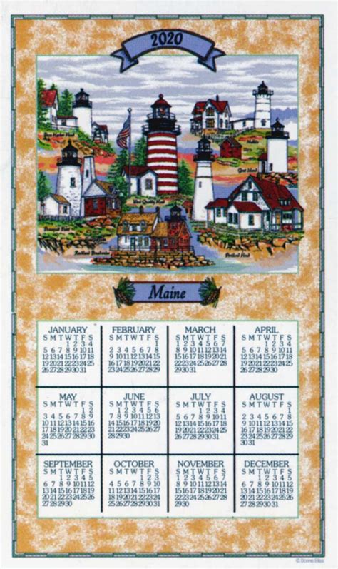 lighthouses maine linen calendar towel lighthouse digest