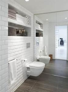 Sol Bois Salle De Bain : id e d coration salle de bain carrelage m tro blanc ~ Premium-room.com Idées de Décoration