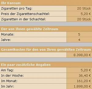 Pelletheizung Kosten Pro Jahr : zigarettenrechner zigarettenanzahl pro tag in kosten umrechnen ~ Buech-reservation.com Haus und Dekorationen