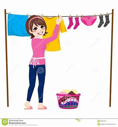 Hang Hanging Clothes Clipart Woman Dry Wet
