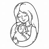 Coloring Baby Mother Pages Holding Vector Illustration Pregnancy Mom Mum Woman Son Printables Objects Isolated Human Background 30seconds Adult Child sketch template