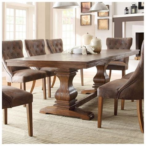 rustic dining sets charming brown velvet nail button
