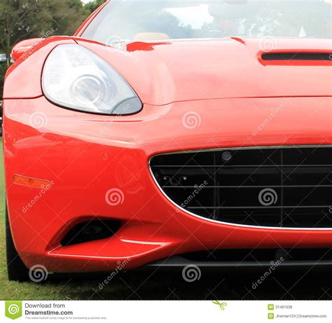 Red Italian Modern Sports Car Headlamp And Grill Stock