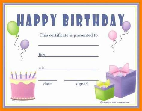 birthday gift certificate template  printable