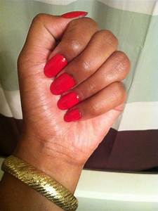 Red oval nails...these are actually press ons that I ...