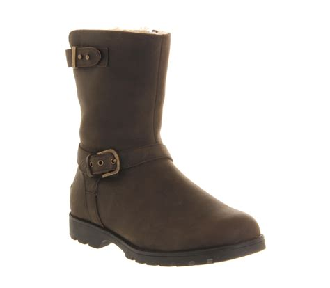 womens brown biker boots ugg grandle biker boots in brown lyst
