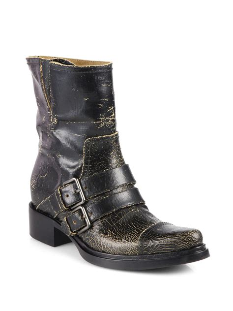 leather motorcycle shoes miu miu distressed leather motorcycle boots in black