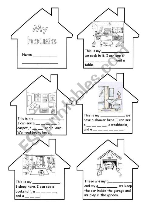 rooms   house mini book esl worksheet  almendras
