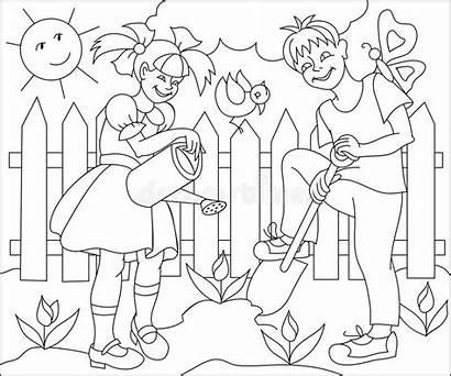 Garden Spring Working Drawing Children Coloring Illustration