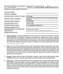 snow plowing contract template 6 download free With free snow removal contract templates