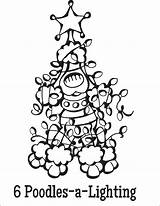 Coloring Christmas Pages Dogs Twelve Poodles Dog Lighting Lights Tumblr Sheet Boy sketch template