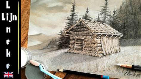 easy cabin  beginners charoal pencil drawing youtube