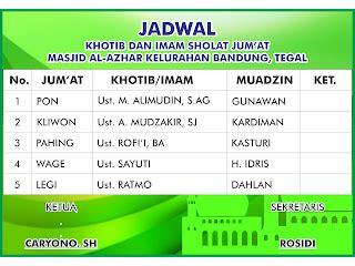 Download Contoh Desain Jadwal Khotib Dan Bilal Sholat