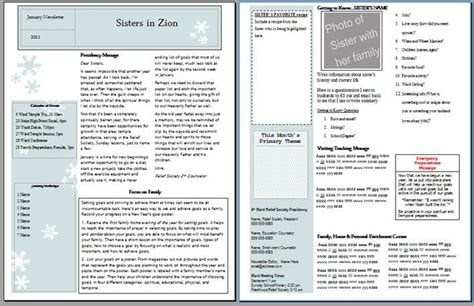 ambers notebook relief society newsletter templates