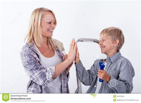 Mother Giving High Five Her Son Stock Photo Image
