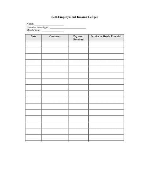 self employment ledger 40 free templates exles