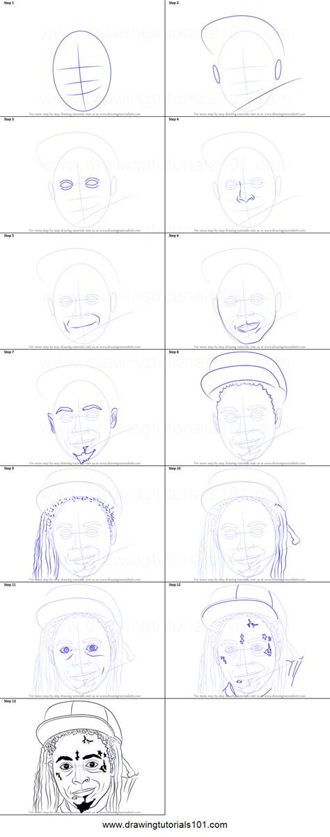 draw lil wayne printable step  step drawing sheet drawingtutorialscom