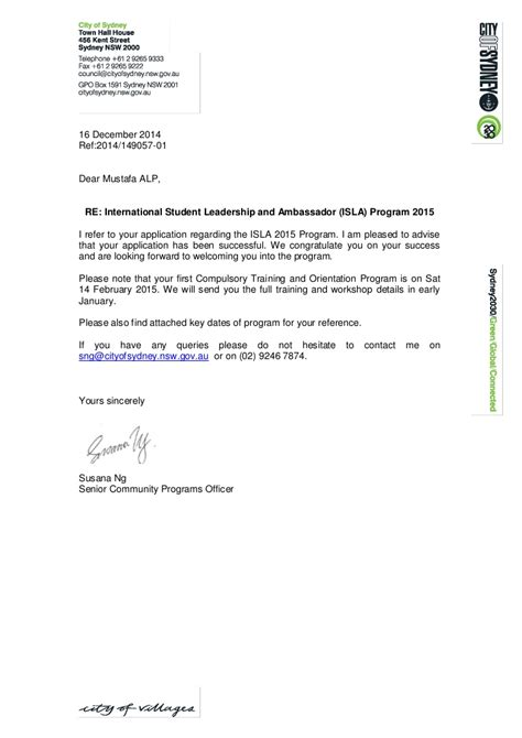 mustafa isla  successful applicant notification