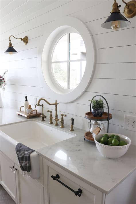 shiplap kitchen planked walls  sink stove