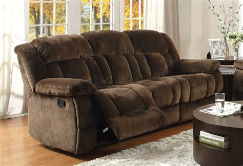 microfiber reclining sofa with console homelegance laurelton reclining sofa set chocolate
