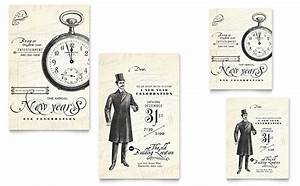 Vintage New Year's Party Note Card Template - Word & Publisher