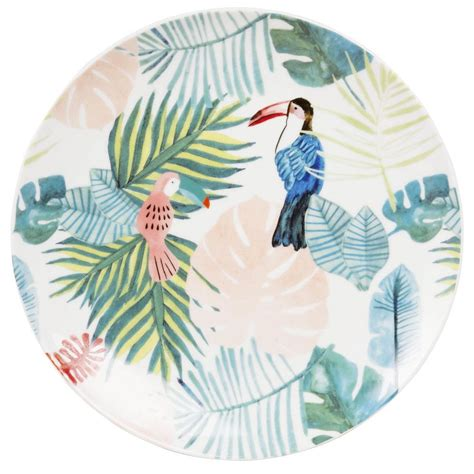 assiette plate en porcelaine imprime tropical maisons du monde collection sweet tropical