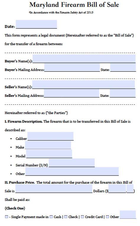 free bill of sale form for car free maryland firearm gun bill of sale form pdf word