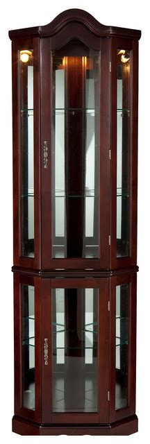 lighted corner curio cabinet mahogany traditional