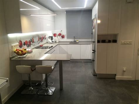 cocina moderna  barra americana  luz led en el techo