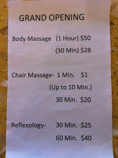 massage price list yelp