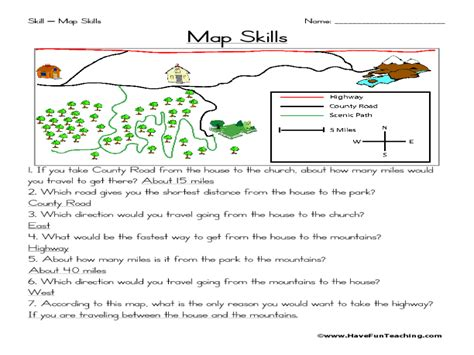 free map worksheets for 3rd grade images diagram writing
