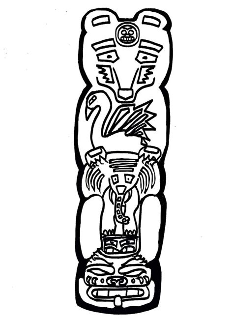 Totem Pole Bear Template by Totem Pole Coloring Pages Bestofcoloring
