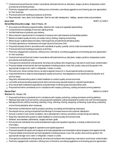 culinary resume skills exles 28 images doc 500708